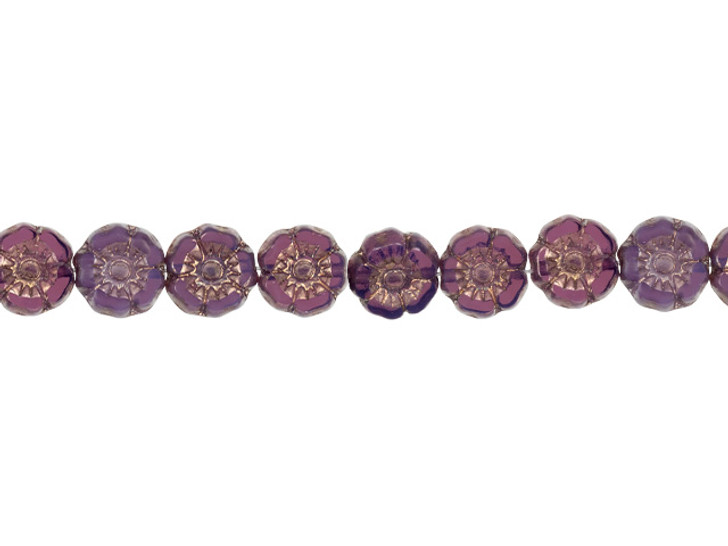 Czech Glass 7mm Purple Opaline with Bronze Finish Hibiscus Flower Bead Strand by Raven's Journey