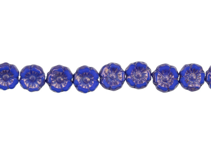 Czech Glass 7mm Royal Blue Silk with Bronze Finish Hibiscus Flower Bead Strand by Raven's Journey