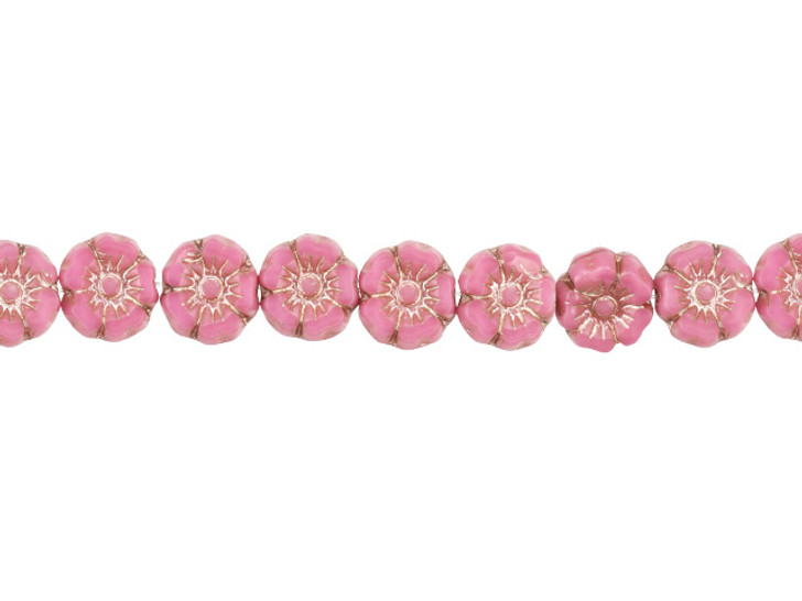 Czech Glass 7mm Pink Silk with Platinum Wash Hibiscus Flower Bead Strand by Raven's Journey