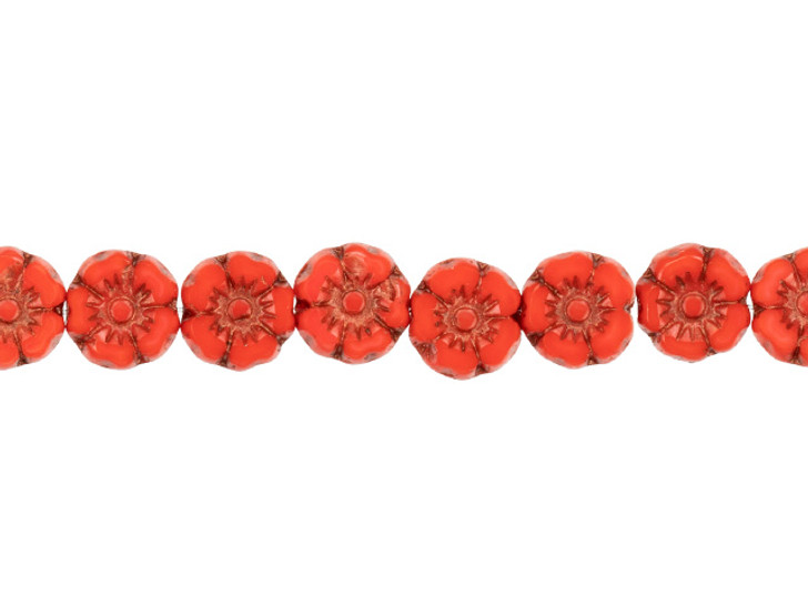 Czech Glass 7mm Coral Red Opaque with Dark Bronze Wash Hibiscus Flower Bead Strand by Raven's Journey