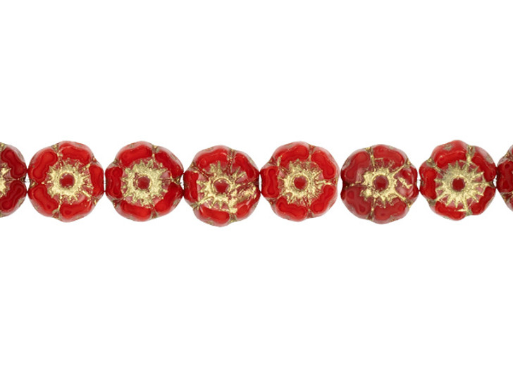 Czech Glass 7mm Red Opaline with Gold Wash Hibiscus Flower Bead Strand by Raven's Journey