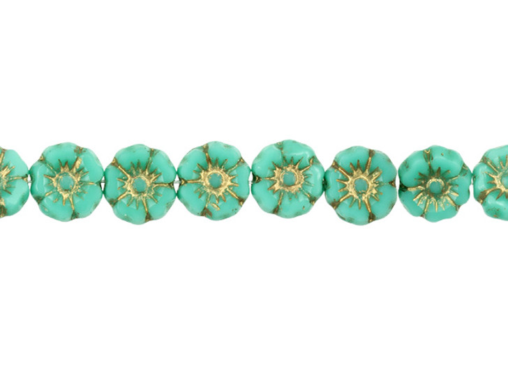 Czech Glass 7mm Turquoise Opaque with Gold Wash Hibiscus Flower Bead Strand by Raven's Journey