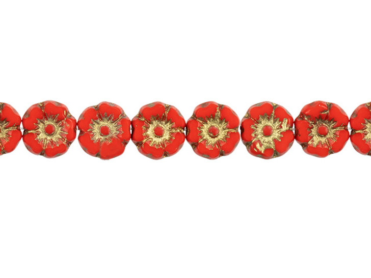 Czech Glass 7mm Bright Red Opaque with Gold Wash Hibiscus Flower Bead Strand by Raven's Journey
