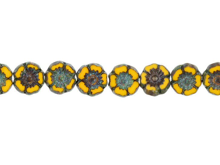 Czech Glass 7mm Yolk Yellow Opaque with Picasso Finish Hibiscus Flower Bead Strand by Raven's Journey