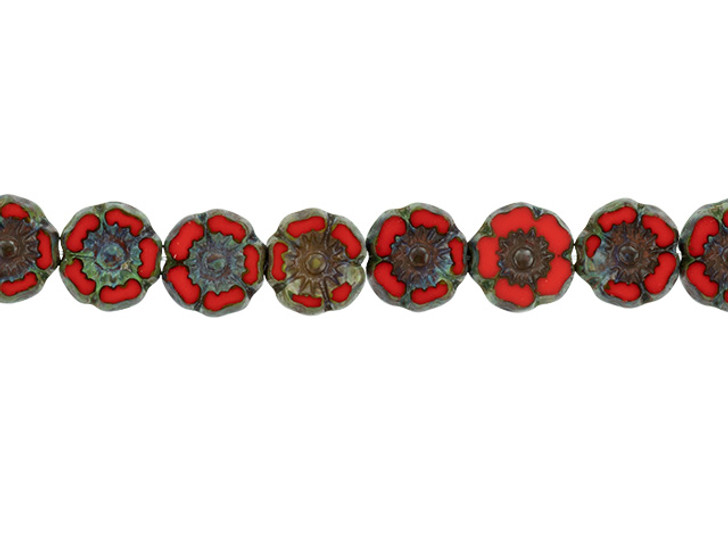 Czech Glass 7mm Bright Red Opaque with Picasso Finish Hibiscus Flower Bead Strand by Raven's Journey