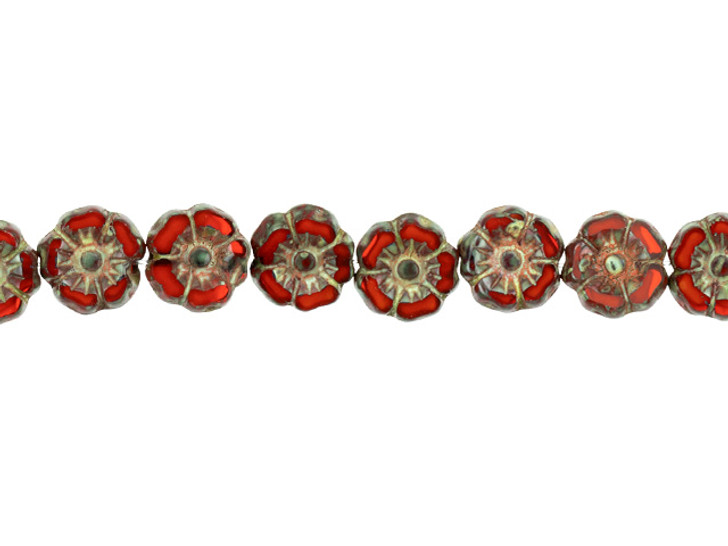 Czech Glass 7mm Burnt Orange Opaline with Picasso Finish Hibiscus Flower Bead Strand by Raven's Journey
