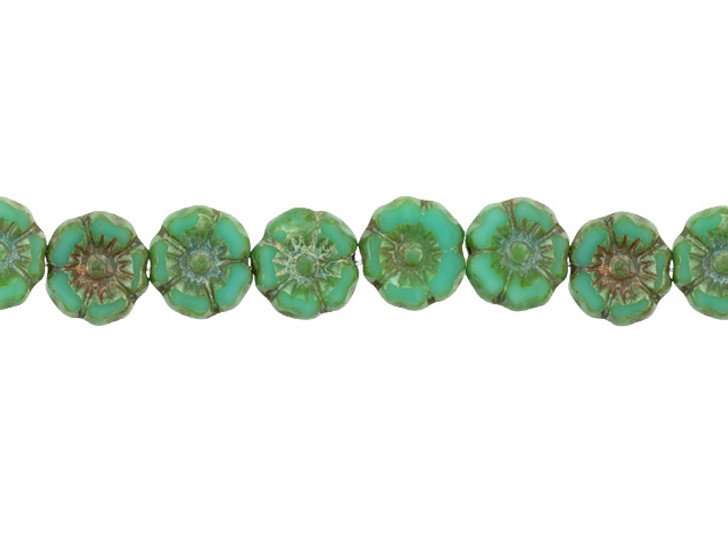 Czech Glass 7mm Turquoise Opaque with Picasso Finish Hibiscus Flower Bead Strand by Raven's Journey