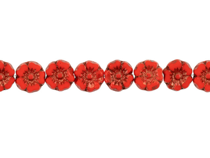 Czech Glass 7mm Bright Red Opaque with Dark Bronze Wash Hibiscus Flower Bead Strand by Raven's Journey