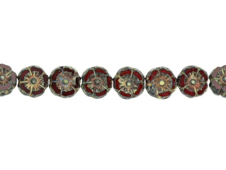 Czech Glass 7mm Red Opaline with Picasso Finish Hibiscus Flower Bead Strand by Raven's Journey
