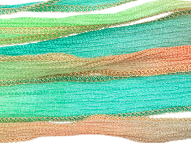 Hand-Dyed Silk Ribbon Minty Peach (32-36 Inches)