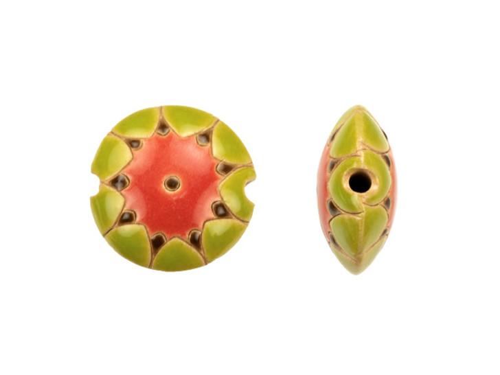 Golem Design Studio Stoneware 23mm Watermelon Lentil Bead