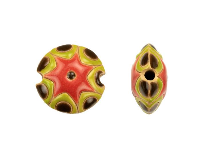 Golem Design Studio Stoneware 18mm Watermelon Lentil Bead