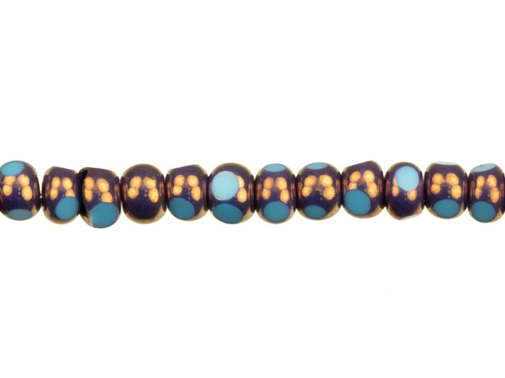 Czech Glass Faceted Seed Bead 6/0 (4 x 3mm) Blue Turquoise Opaque with Bronze Finish Bead Strand by Raven's Journey
