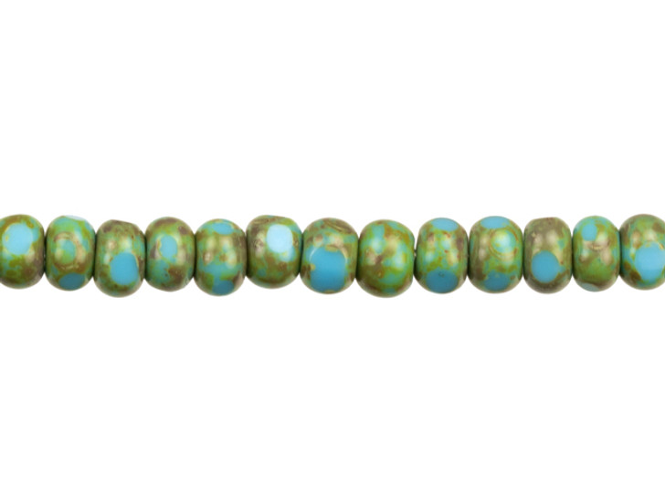Czech Glass Faceted Seed Bead 6/0 (4 x 3mm) Blue Turquoise Opaque with Green Picasso Finish Bead Strand by Raven's Journey
