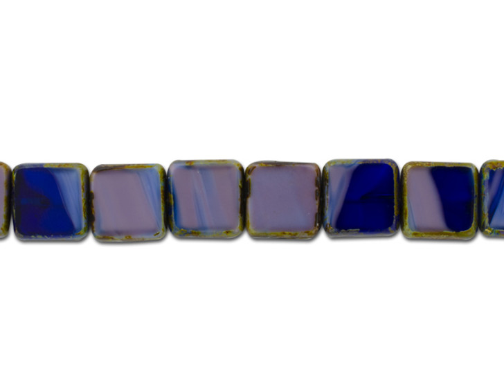Czech Glass Cobalt Purple Mix Silk Transparent with Picasso 11mm Square Bead Strand by Raven's Journey