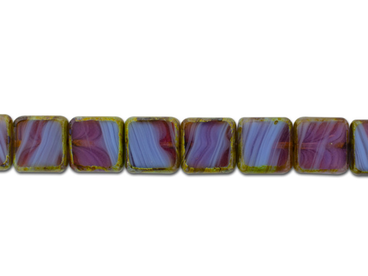 Czech Glass Purple Pink Mix Opaque Opaline with Picasso 11mm Square Bead Strand by Raven's Journey