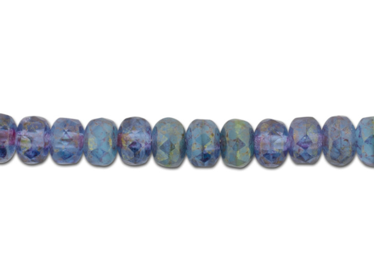Czech Glass 5 x 3mm Turquoise Opaque and Purple Transparent Mix with Purple Gold Marbled Finish Faceted Rondelle Bead Strand by Raven's Journey