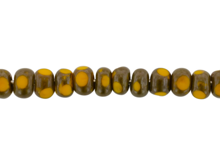 Czech Glass Faceted Seed Bead 6/0 (4 x 3mm) Mustard Yellow Opaque with Picasso Finish Bead Strand by Raven's Journey