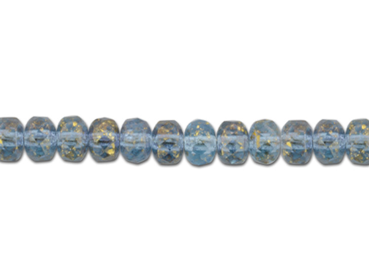 Czech Glass 5 x 3mm Aquamarine Blue Transparent with Antique Gold Finish Faceted Rondelle Bead Strand by Raven's Journey