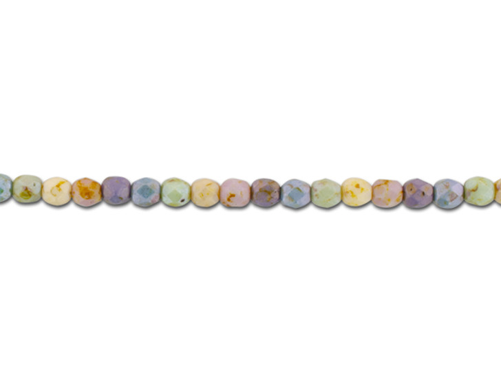 Czech Glass 4mm Natural Rainbow Opaque Mix with Stone Finish Faceted Round Bead Strand by Raven's Journey