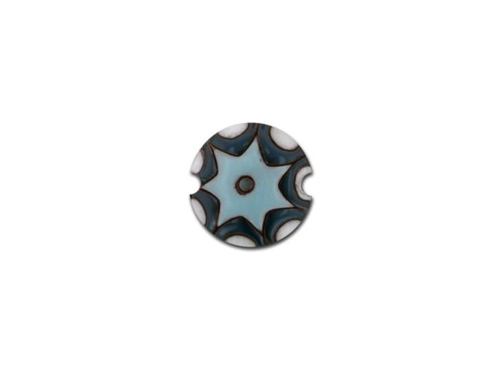Golem Design Studio Stoneware Small Lentil Bead - Light and Dark Blue Sun Design