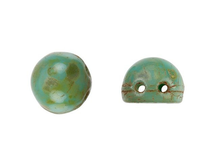 CzechMates 2-Hole 7mm Opaque Turquoise Picasso Cabochon Beads 2.5-Inch Tube