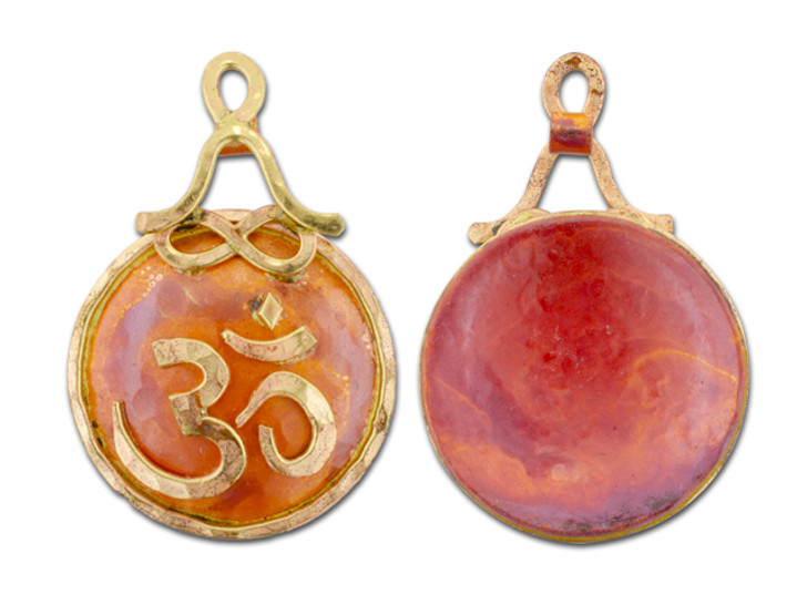 Patricia Healey Copper Om Pendant with Person Sitting in Lotus Position Bail