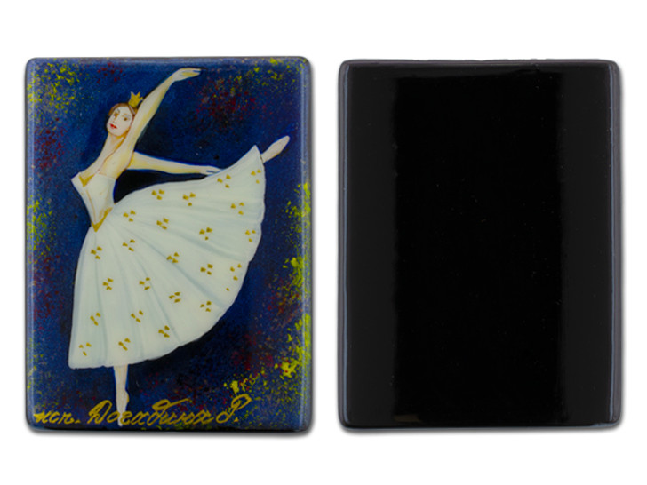 Traditional Ballet with Blue Background Black Agate Rectangle Bead