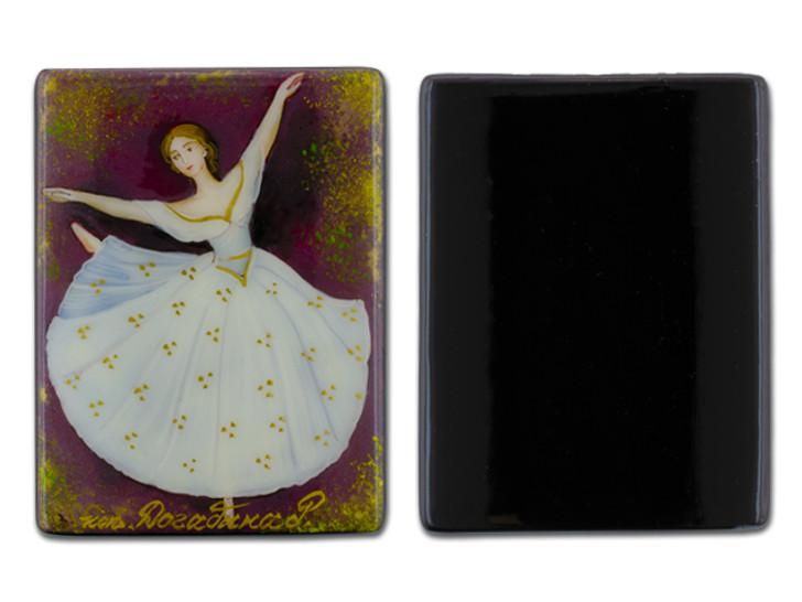 Traditional Ballet with Red Background Black Agate Rectangle Bead