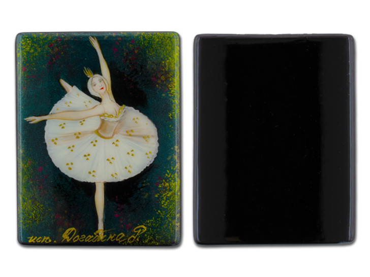 Traditional Ballet with Green Background Black Agate Rectangle Bead