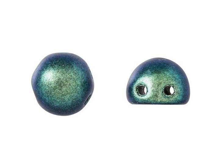 CzechMates 2-Hole 7mm Polychrome Aqua Teal Cabochon Beads 2.5-Inch Tube