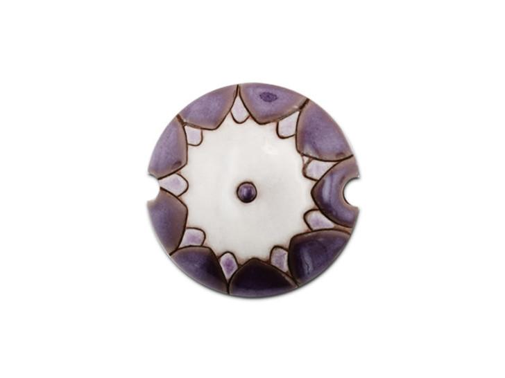Golem Design Studio Stoneware Lentil Bead - Purple and White Sun Design
