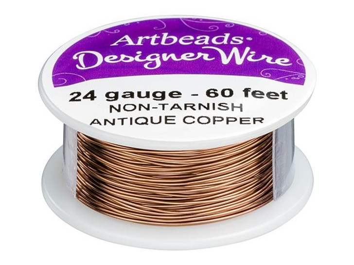 Artbeads Designer Wire - Antique Copper Non-Tarnish 24 Gauge (60-foot spool)