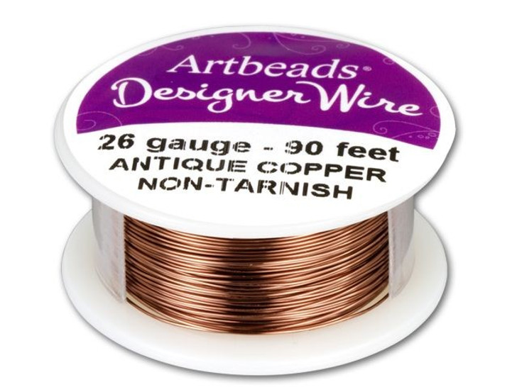 Artbeads Designer Wire - Antique Copper Non-Tarnish 26 Gauge (90-foot spool)