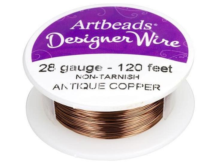 Artbeads Designer Wire - Antique Copper Non-Tarnish 28 Gauge (120-foot spool)
