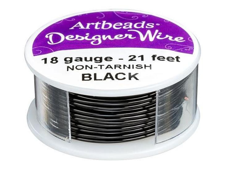 Artbeads Designer Wire - Black Non-Tarnish 18 Gauge (21-foot spool)