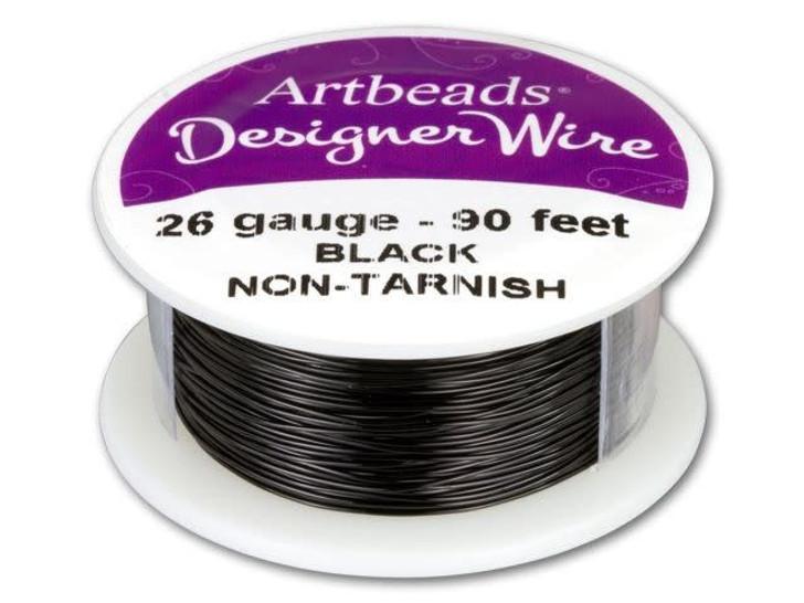 Artbeads Designer Wire - Black Non-Tarnish 26 Gauge (90-foot spool)