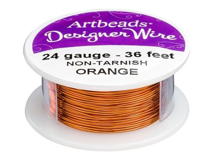 Artbeads Designer Wire - Orange Non-Tarnish 24 Gauge (36-foot spool)