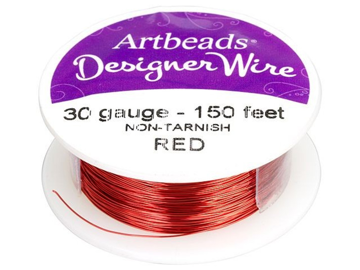 Artbeads Designer Wire - Red Non-Tarnish 30 Gauge (150-foot spool)