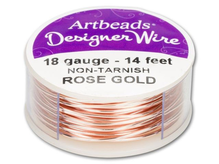 Artbeads Designer Wire - Rose Gold Non-Tarnish 18 Gauge (14-foot spool)