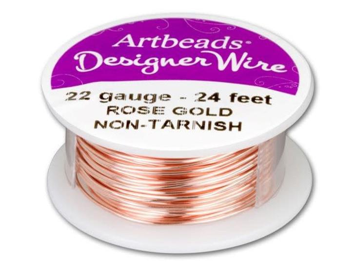 Artbeads Designer Wire - Rose Gold Non-Tarnish 22 Gauge (24-foot spool)