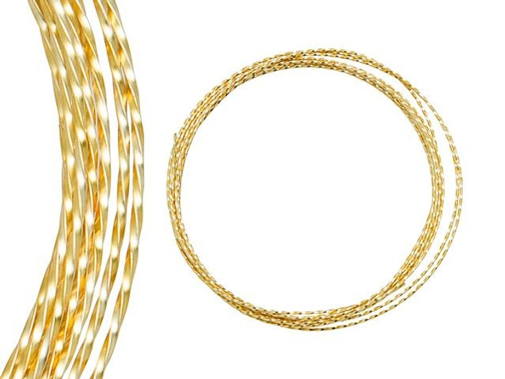 Artbeads Designer Wire - Twisted 21 Gauge - 7 Feet Non-Tarnish Gold