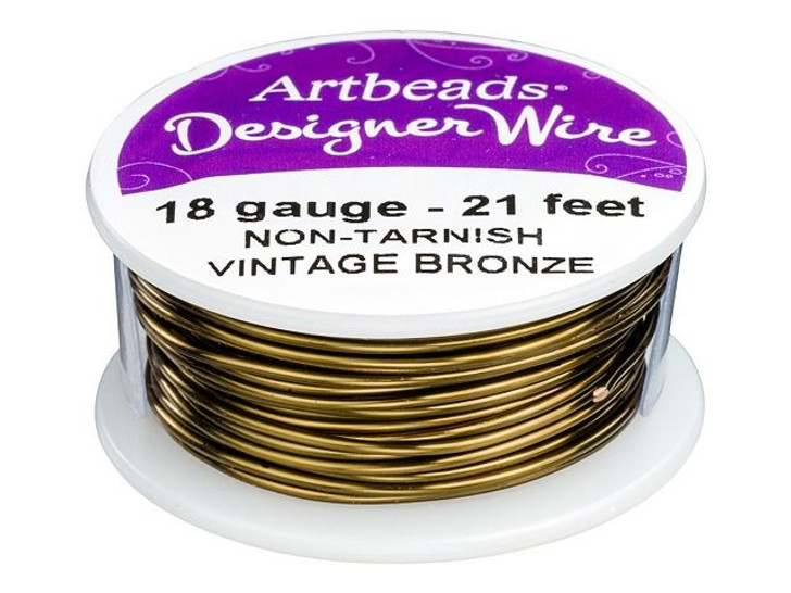 Artbeads Designer Wire - Vintage Bronze Non-Tarnish 18 Gauge (21-foot spool)
