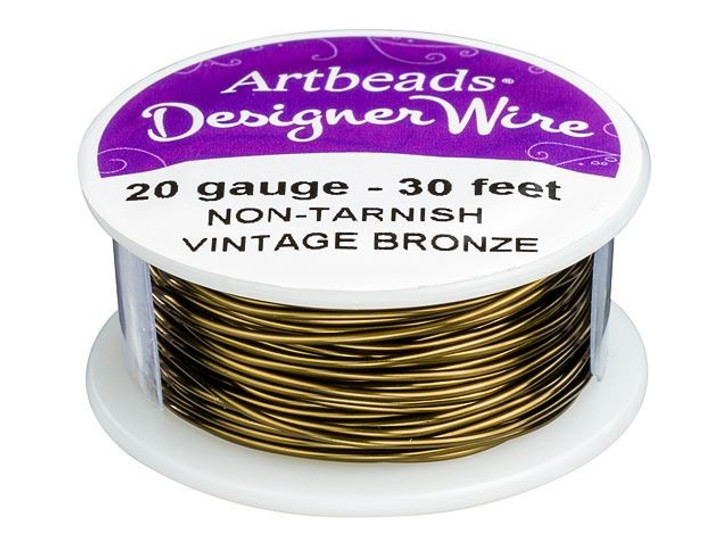 Artbeads Designer Wire - Vintage Bronze Non-Tarnish 20 Gauge (30-foot spool)