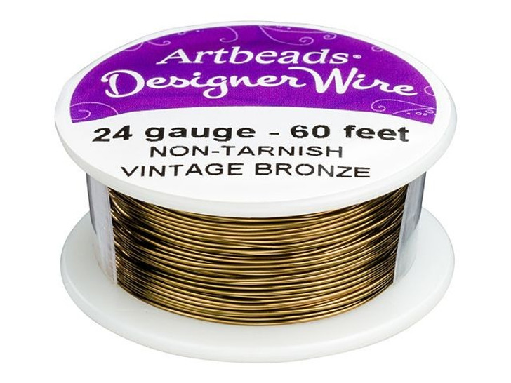 Artbeads Designer Wire - Vintage Bronze Non-Tarnish 24 Gauge (60-foot spool)