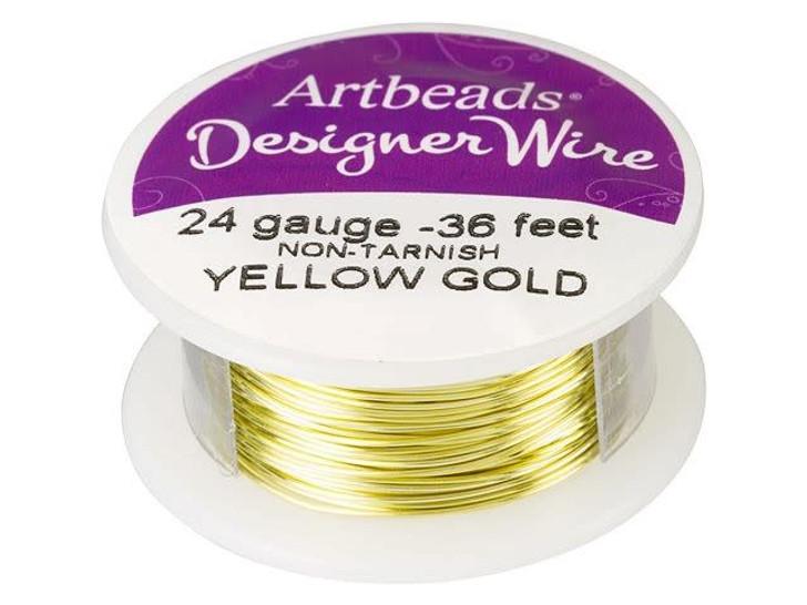 Artbeads Designer Wire - Yellow Gold Non-Tarnish 24 Gauge (36-foot spool)