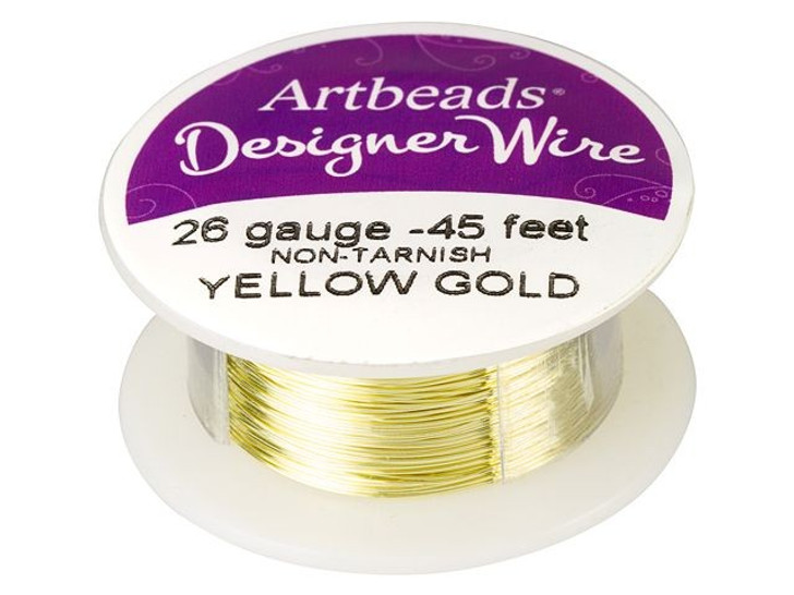 Artbeads Designer Wire - Yellow Gold Non-Tarnish 26 Gauge (45-foot spool)