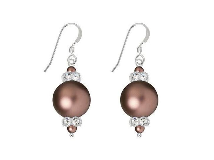 Swarovski Pearl Panache Earrings Kit- Crystal Velvet Brown