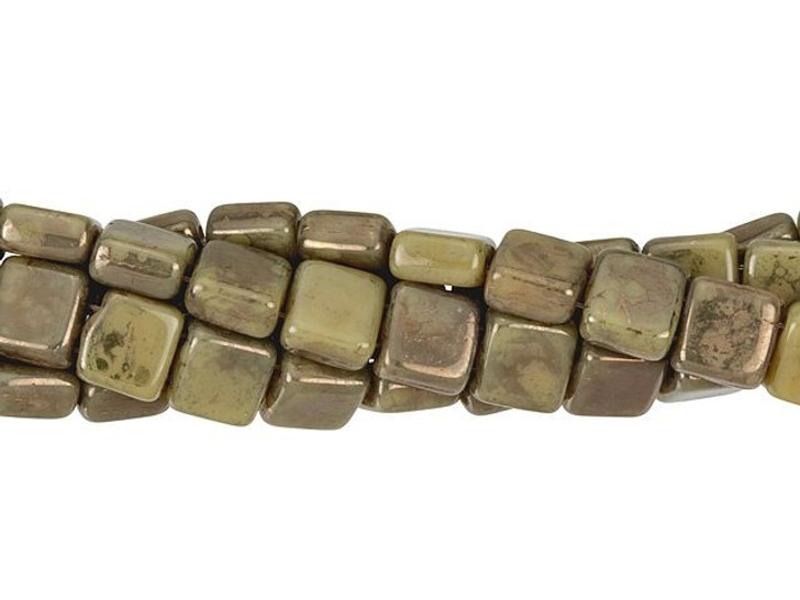 CzechMates Glass 6mm French Beige Moon Dust Two-Hole Tile Bead Strand