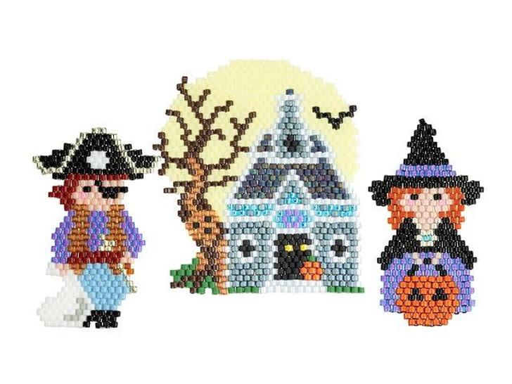 Artbeads Witch, Pirate, and Haunted House Brick Stitch Jewelry Kit (featuring TOHO Treasure Beads)